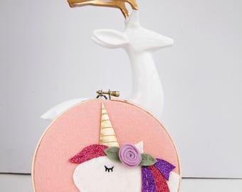 Unicorn Wall Art / Unicorn Art / Nursery Wall Art / Boho Baby / Felt Embroidery Hoop Art / Girl Room / Unicorn Party Gift / Gift for Baby