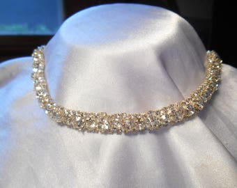 Gorgeous Vintage Prong Set Clear Crystal Rhinestone Choker Necklace