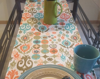 Ikat Print Runner, Peach and Green Runner, Turquoise and Peach Runner
