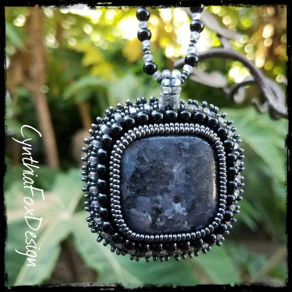 Beaded Black Onyx Necklace with Large Black Labradorite Pendant