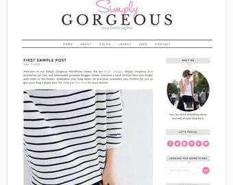 "Wordpress Theme Responsive Blog Design ""Simply Gorgeous"" - Stylish and Clean"
