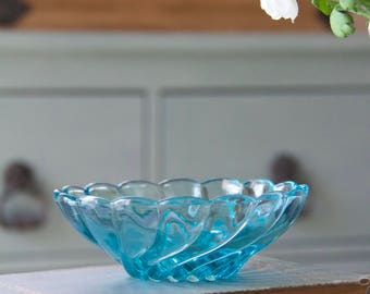 Vintage Blue Glass Trinket Candy Dish