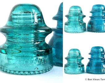 Antique Aqua Insulators Set of 2 Hemingray Teal Green Glass Telegraph Insulators