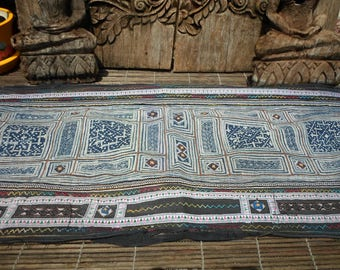 Hmong Vintage Textile, Tribal Indigo Batik,  Hand Dyed, Embroidered Folk Art