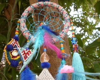 Tribal Dreamcatcher With Vintage Textiles, Beads, Shells, Feathers, Tassels and Magic