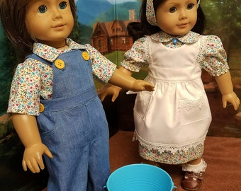 Jack and Jill Costumes with Pail,  fits American Girl Dolls Logan and Kit