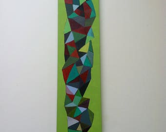 Abstract Triangles Painting on Wood Composition #4