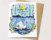 First Mother's Day Card, Mother's Day Greeting Card, Mom Greeting Card, Happy Mothers Day, Swan card, Swan mom, paper goods