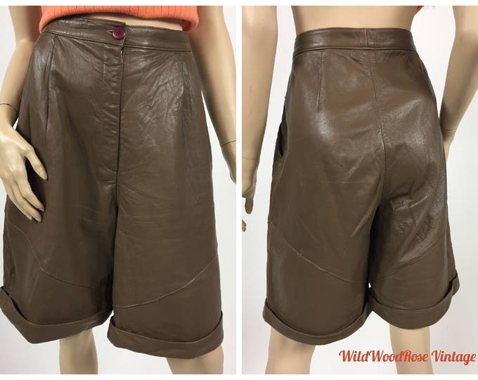 "Vintage 1980's High Waisted Leather Shorts - Café Au Lait Lambskin - Butter Soft Leather - Pleated Front - High Rise - Waist 29"" to 30"""