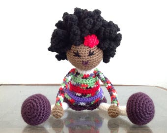 READY TO SHIP Crochet African American, Biracial Doll, bright colors, multicolored Plush Afro Natural Black Hair Stuffed Toy Baby Girl Gift