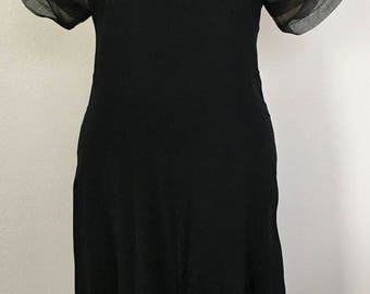 Vintage Retro Black Mid-Length Evening Dress Size Small or Medium c. 1985