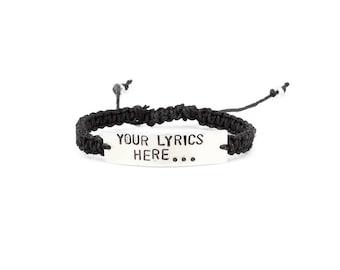 Lyric Bracelet, Custom Lyrics, Lyric Jewelry, Music Bracelet, Handstamped Bracelet, Music Lover Gift