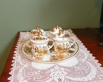 Antique 1800 French Porcelain POTS DE CREME Cups with Lids and Platter Tray Rose Gold Gilt Decore Main France