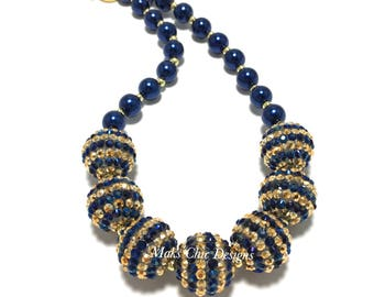 Toddler or Girls Navy and Gold Chunky Necklace - Blue Bling and Pearl Chunky Necklace - Christmas Navy Necklace - Snowflake Necklace