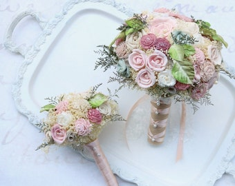 Grace In Bloom Wedding Flower Collection // Wedding Bouquet Set, Dusty Pink, Green, Bridal Bouquet, Wedding, Bridal, Bouquets, Shabby Chic