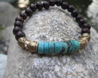 Boho Turquoise Stacking Stretch Bracelet - Turquoise and Wood Bracelet with Crystal Rondelle Beads