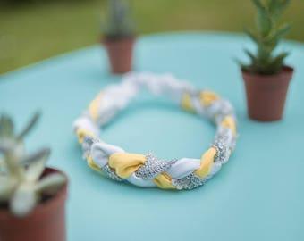 Headband tresse jaune, ivoire et argent
