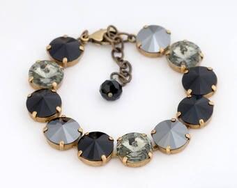 Jet Black Swarovski Crystal Bracelet, Black Rhinestone Bracelet, Grey Rhinestone Jewelry, Grey Bracelet, Swarovski Jewelry Crystal, Diana