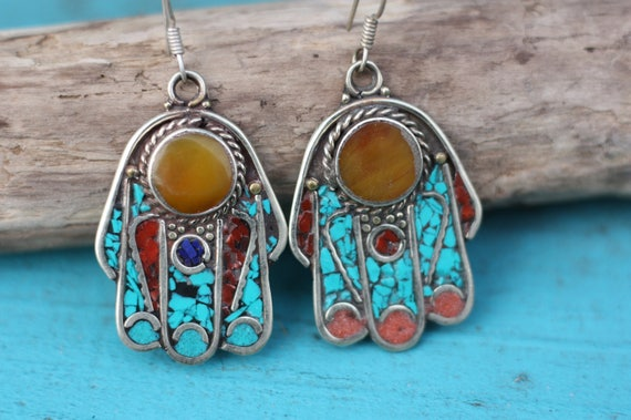 MOROCCAN HAMSA EARRINGS - Moroccan earrings - Hand of fathima - Turquoise - Coral - Mosaic - Handmade - Crystal earrings - Amber - Gemstone