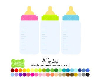 SALE Baby Bottle Digital Clipart - Rainbow Bottle Clipart - Baby Clipart - Baby Bottle Graphics - Personal and Commercial Use