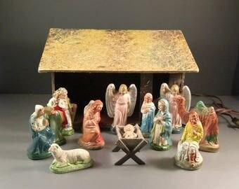 Old Italian Nativity Creche Scene / Chalkware and Plaster Figurines with Original lighted manger