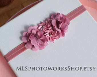 Pale Raspberry Flower Headband for Babies, Toddlers, and Girl