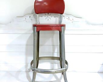 Vintage Metal Cosco Stool Kitchen Stool Step Stool Red Metal Farmhouse Stool
