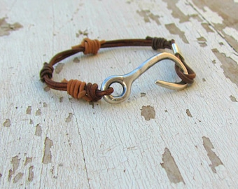 Men Leather Bracelet, Brown Wrap Jewelry, Boho Groom, Western Man Wedding, Gift from Bride, Manly Bangle, Country and Rustic, Bridegroom