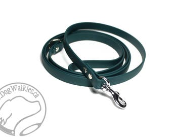 """NEW - Pine Green Small Dog Biothane Leash - 1/2"""" (12mm) wide - Choice of Length - Stainless Steel, Chrome or Solid Brass Hardware"""