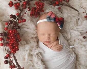 Plaid Bow Headband, Baby Girl Headband, Baby Headband, Newborn Headband, Newborn Baby Headband, Plaid Headband, Baby Bows, Baby Headbands