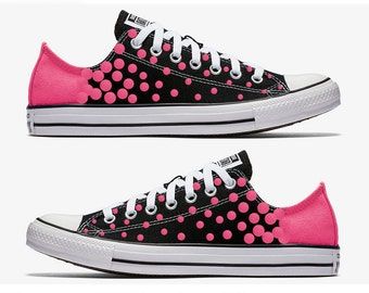 Converse Hand Painted Black with Pink Polka Dots
