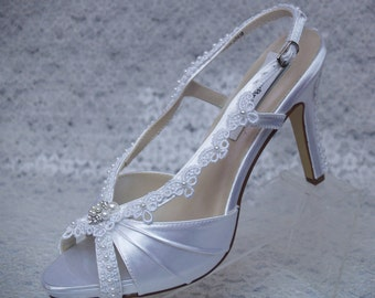 Size 9 1/2 White Wedding Shoes LACE and PEARLS appliques high heels, Ready to ship peep toe, slingback, pearl embellished, White Lace Sandal