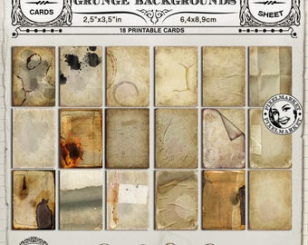 Grunge Backgrounds Printable Display Cards Distressed PaperTag Collage Sheet Printable Download for Scrapbooking Altered Art n221
