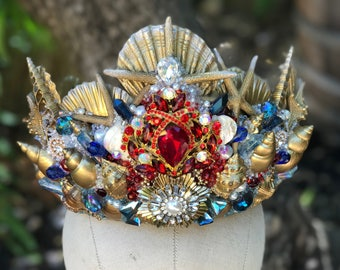 Mermaid Crown, Mermaid Costume, Shell Crown, Seashell Crown, Sea Shell Crown, Mermaid Cosplay, Mermaid Headpiece, Crowns and Tiaras, Siren.
