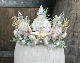 Mermaid Crown - Starfish Crown - Starfish Tiara - Sea Shell Crown - Seashell Crown - Beach Wedding Crown - Mermaid Tiara - White Shell Crown