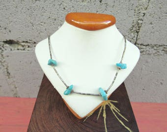 Vintage Turquoise Liquid Silver Necklace 70s Southwestern Choker Turquoise Beaded Indian Necklace Southwestern Jewelry