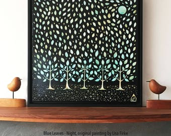 Blue Leaves - Night, ORIGINAL painting, framed, ready to hang, by Lisa Firke