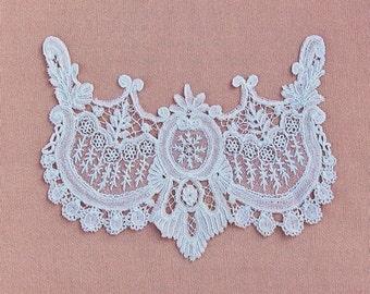 Antique lace applique, Point de Gaze neckline or bodice trim, 1800's handmade needle lace
