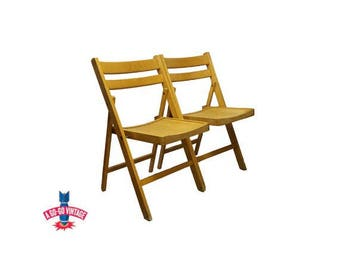 Vintage Blond Slat Wood Chairs Antique Mission Wedding Church Folding Chairs