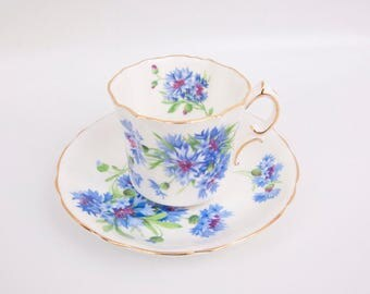 Vintage Hammersley Teacup Saucer Blue Cornflower Fine Bone China Gold Trim Made in England Purple flowers