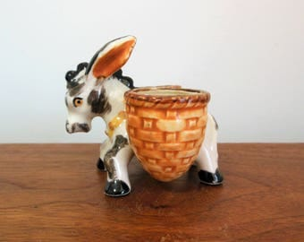 Mule or Donkey with Baskets Double Planter or Toothpick Holder Made in Japan Black and White Animal
