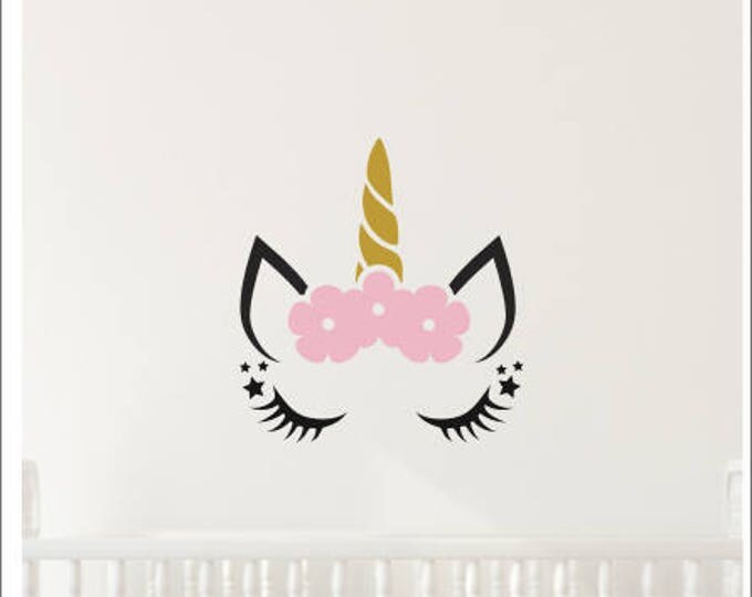 Unicorn Wall Decal-Girls Wall Decor-Decal for Nursery or Bedroom-Unicorn Vinyl-Magical Floral Unicorn-Trendy Wall Decor