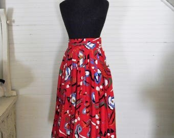 Vintage Skirt, Red Print Midi Skirt, Size Small 1990s Midi Skirt, Full Skirt, 1990s Funky Print Skirt, Red Print Bently Arbuckle Skirt, Sz 4