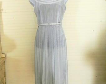 Vintage Dress, Light Blue Summer Dress With Pleated Skirt and Belt, Cap Sleeves, 1950s - 1960s Summer Dress, Lightweight Cotton Summer Dress