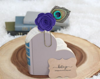 Purple Rose Felt Flower Bookmark with Peacock Feather/Planner Clip/Planner Accessory/Book Accessory