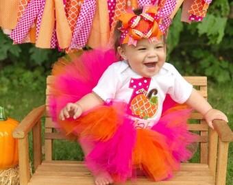 Pumpkin tutu, pumpkin birthday shirt, First Birthday, pumpkin cake smash, pumpkin birthday, pink and orange pumpkin shirt, pumpkin tutu