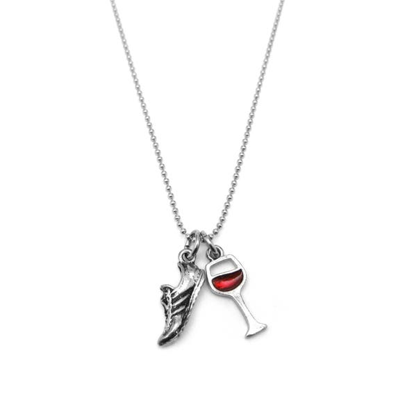 Will Run for Wine - Run Now Wine Later - Gift Idea for Marathon Runner - Fitness Jewelry - Gift for Runner - Gym Necklace - Fit Idea for Her