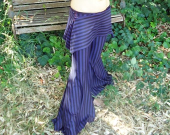 Goth Pants, Tribal Fusion belly dance pants -YOUR SIZE, Purple/Black,Hip Scarf,  Tribal fusion costume.