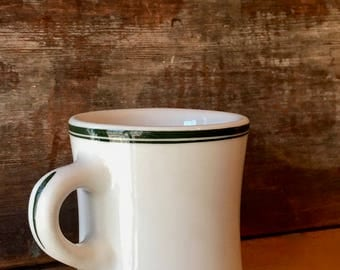 Victor Coffee Mug, Iconic Heavy and Durable Diner Mug, Hand Painted Green Lines, New York ca. 1940s