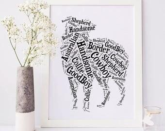 Custom Australian Shepherd Art Print | Dog Lover Gift Aussie | Custom Pet Wall Art | Aussie Dog Wall Decor | Personalized Aussie Dog Art